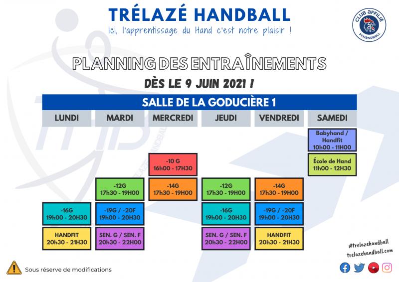 Planning des entraînements 9 juin